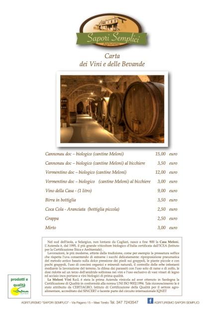 Carta dei Vini e delle Bevande